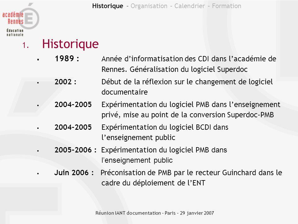 Historique - Organisation – Calendrier – Formation Un déploiement dans le cadre de lENT Agenda Ressources numériques Gestion documentaire Menu de la cantine Réunion IANT documentation – Paris – 29 janvier 2007