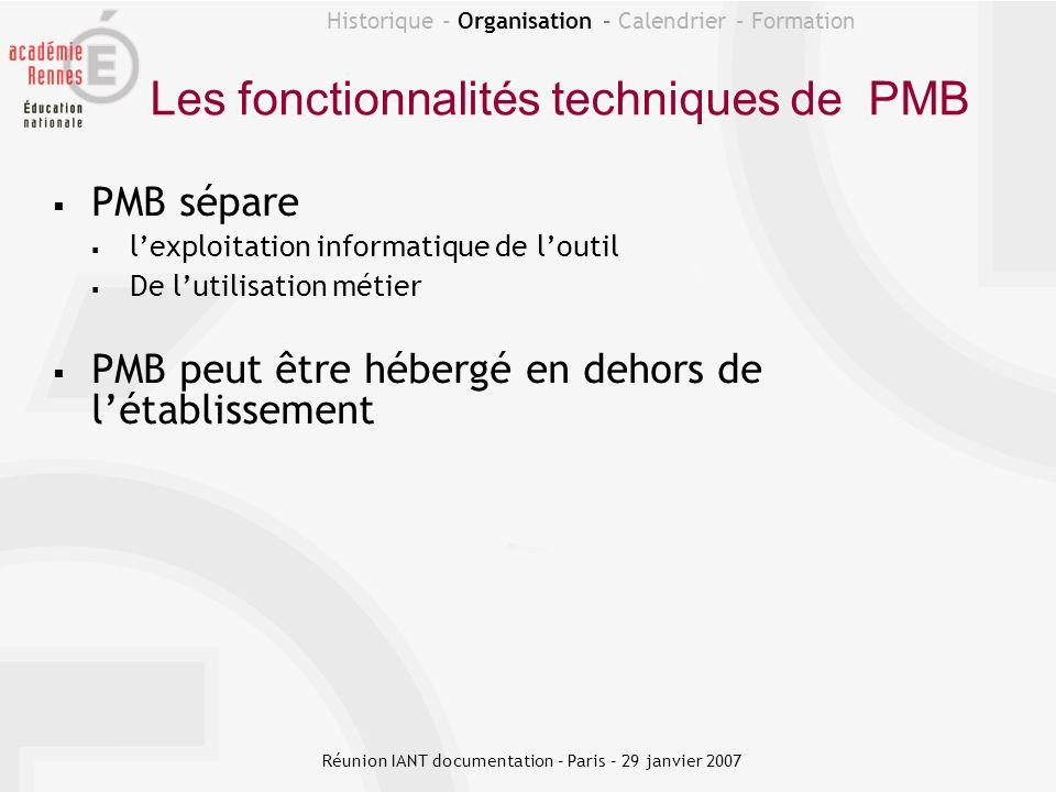 Historique - Organisation – Calendrier – Formation Les fonctionnalités techniques de PMB PMB sépare lexploitation informatique de loutil De lutilisati