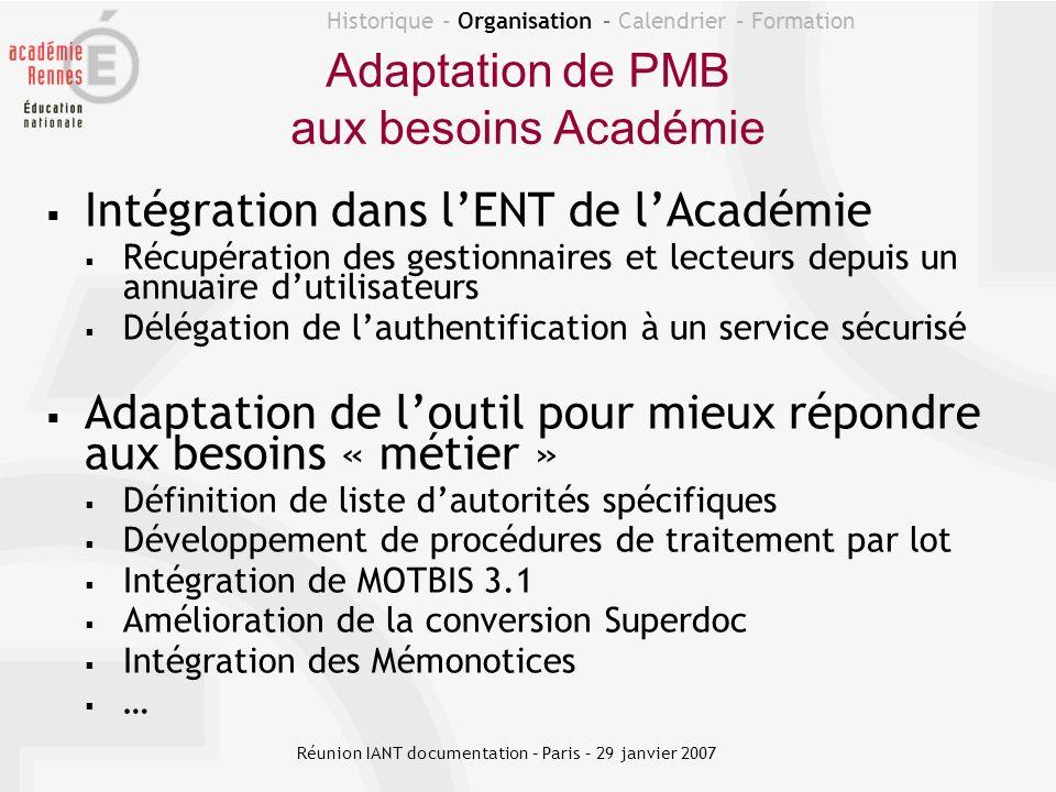 Historique - Organisation – Calendrier – Formation Hébergement de PMB au Rectorat Architecture 1 PMB pour tous les CDI 1 base PMB par CDI 1 sauvegarde journalière Réunion IANT documentation – Paris – 29 janvier 2007