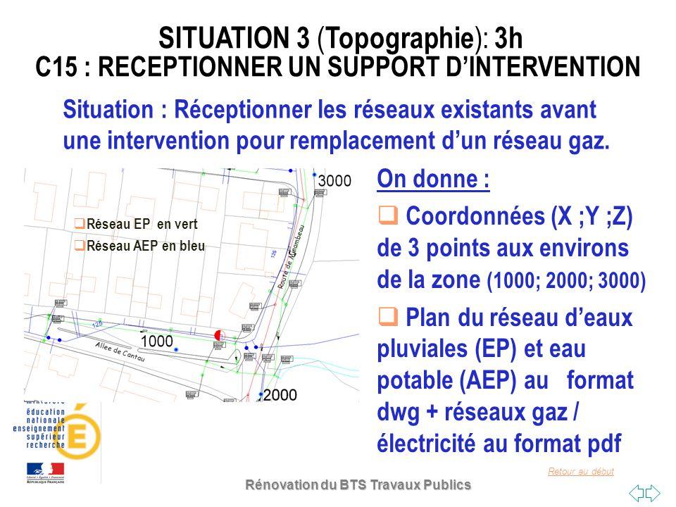 Retour au début Situation : Réceptionner les réseaux existants avant une intervention pour remplacement dun réseau gaz. Réseau EP en vert Réseau AEP e