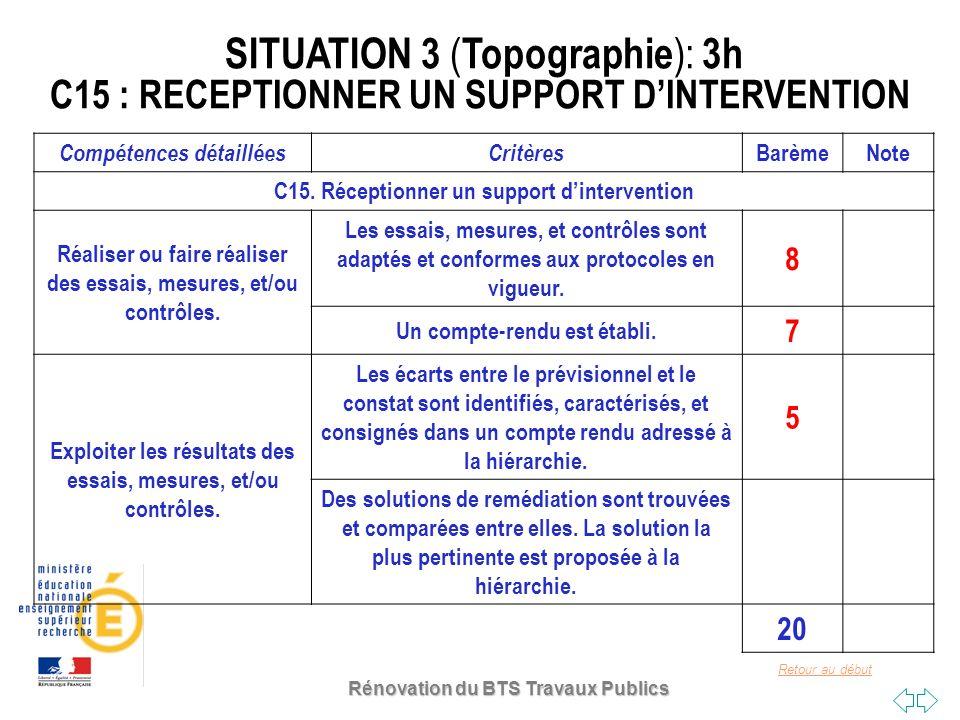 Retour au début Rénovation du BTS Travaux Publics SITUATION 3 ( Topographie ): 3h C15 : RECEPTIONNER UN SUPPORT DINTERVENTION Compétences détailléesCr