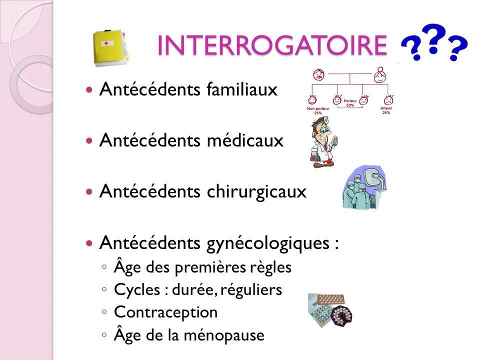 INTERROGATOIRE Antécédents obstétricaux : Nombres de grossesses Dates des accouchements Problèmes pendant la grossesse ou laccouchement IVG (interruption volontaire de grossesse) Fausse couche