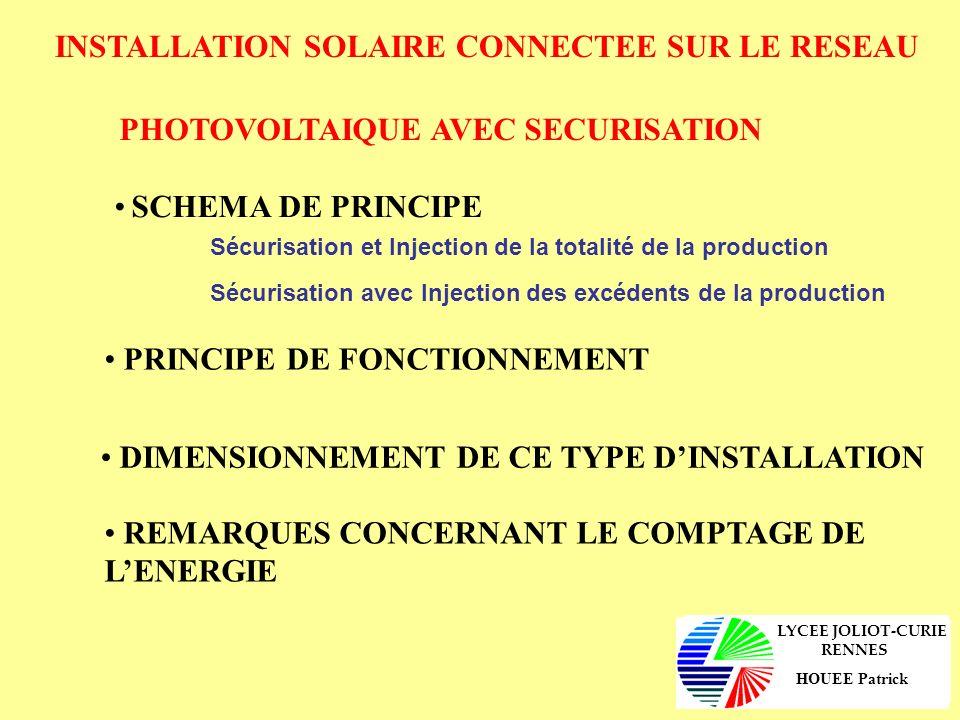 INSTALLATION SOLAIRE CONNECTEE SUR LE RESEAU PHOTOVOLTAIQUE AVEC SECURISATION SCHEMA DE PRINCIPE Sécurisation et Injection de la totalité de la produc