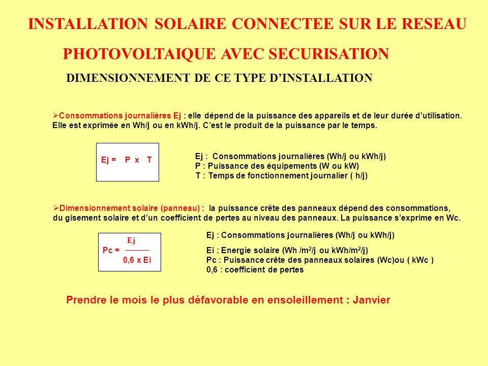 INSTALLATION SOLAIRE CONNECTEE SUR LE RESEAU PHOTOVOLTAIQUE AVEC SECURISATION DIMENSIONNEMENT DE CE TYPE DINSTALLATION Consommations journalières Ej :
