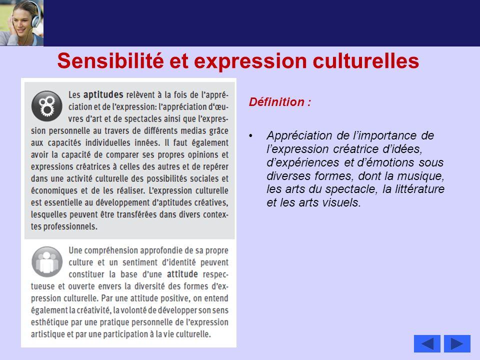 Sensibilité et expression culturelles Définition : Appréciation de limportance de lexpression créatrice didées, dexpériences et démotions sous diverse