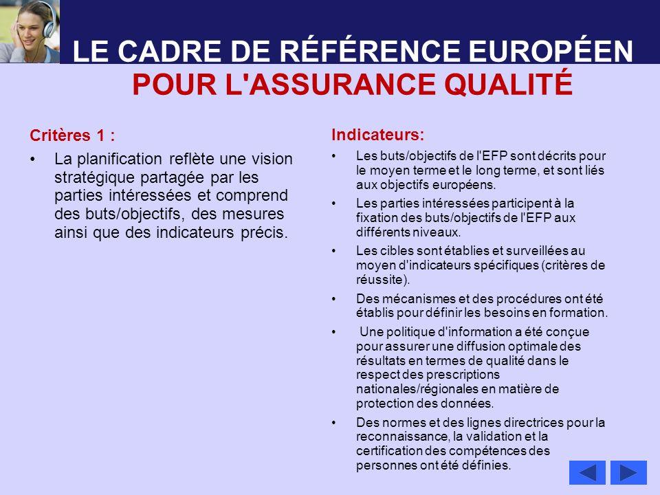 LE CADRE DE RÉFÉRENCE EUROPÉEN POUR L'ASSURANCE QUALITÉ Critères 1 : La planification reflète une vision stratégique partagée par les parties intéress