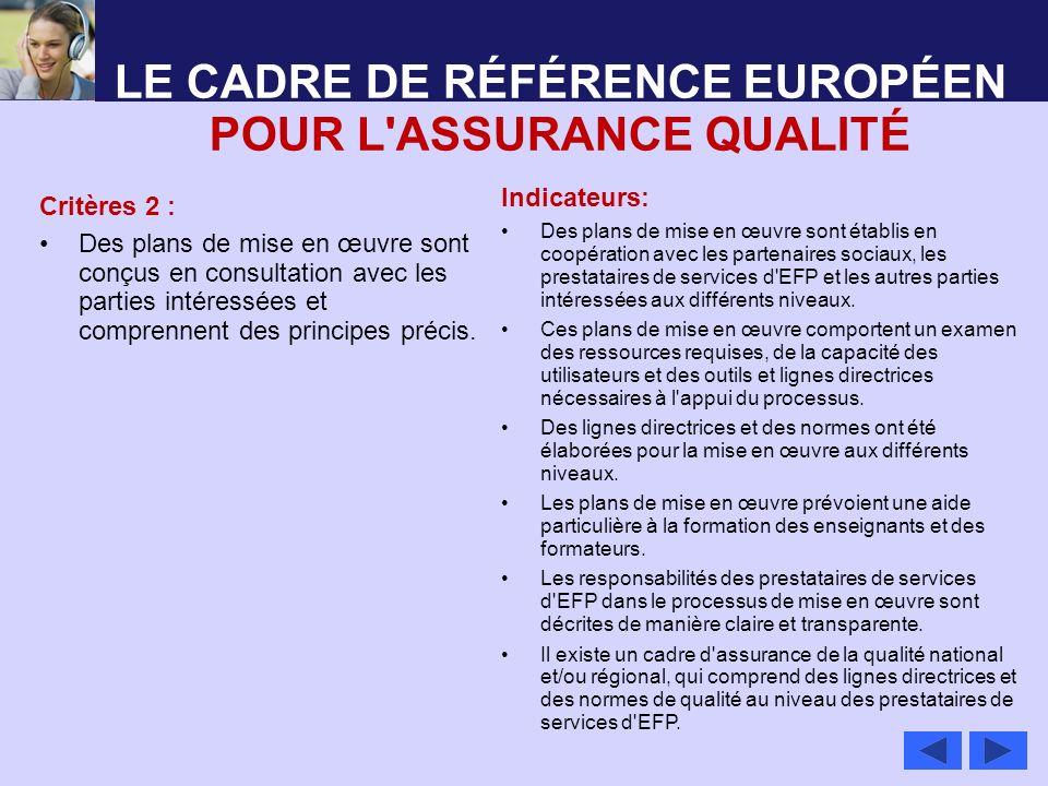 LE CADRE DE RÉFÉRENCE EUROPÉEN POUR L'ASSURANCE QUALITÉ Critères 2 : Des plans de mise en œuvre sont conçus en consultation avec les parties intéressé
