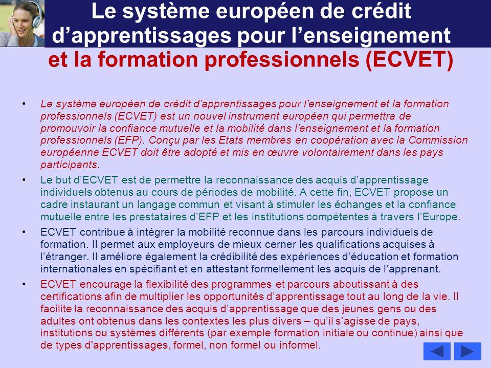 Le système européen de crédit dapprentissages pour lenseignement et la formation professionnels (ECVET) Le système européen de crédit dapprentissages