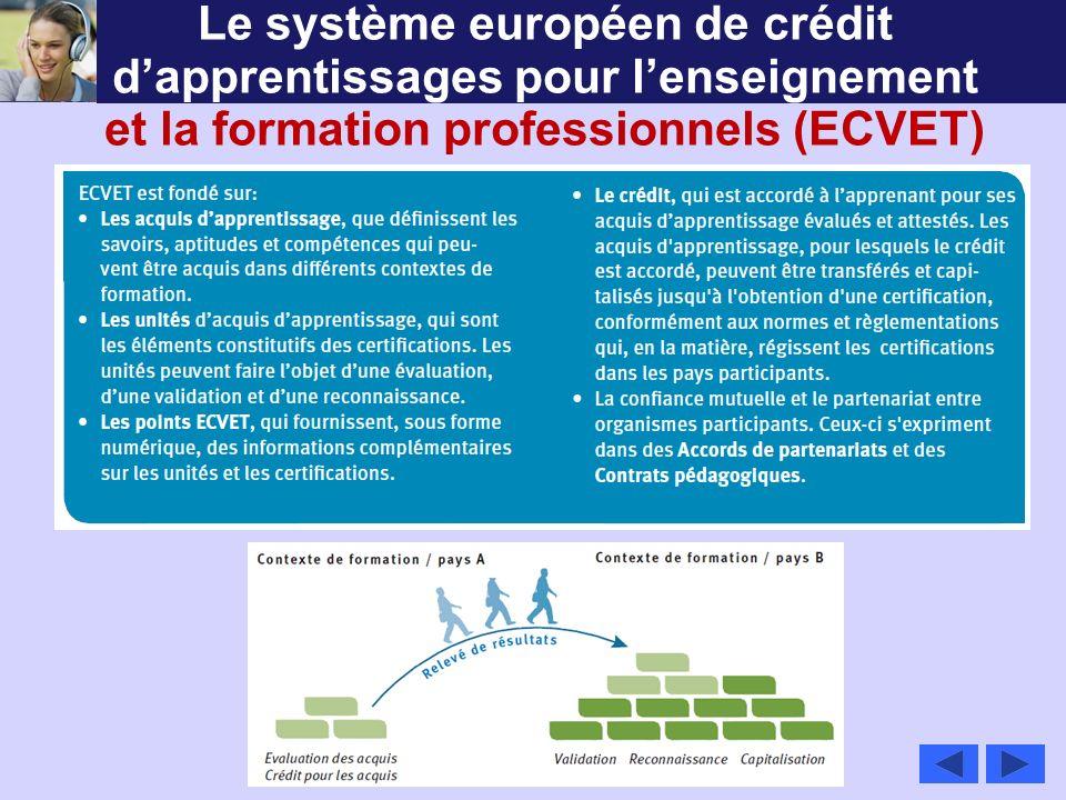 Le système européen de crédit dapprentissages pour lenseignement et la formation professionnels (ECVET)