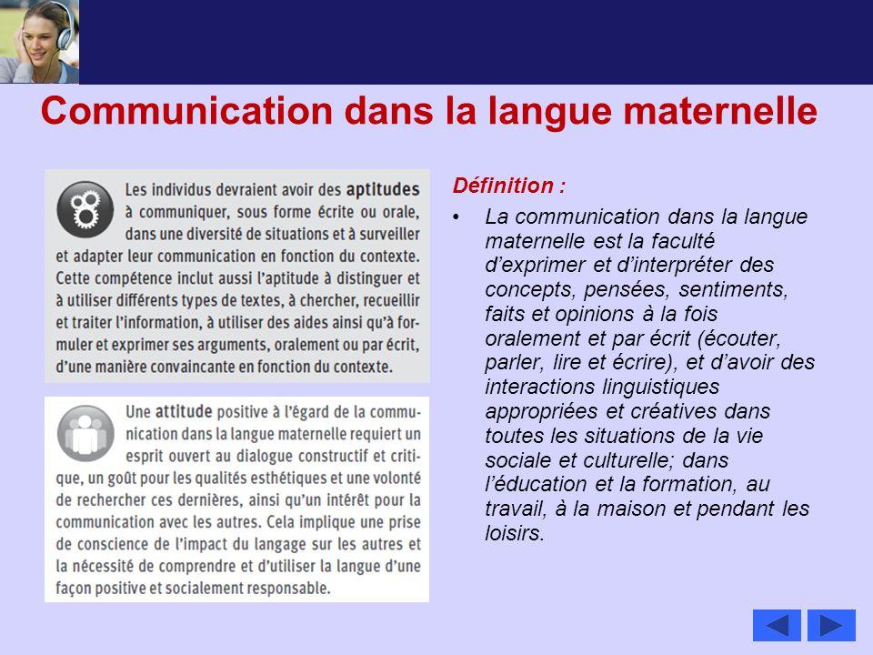 Communication dans la langue maternelle Définition : La communication dans la langue maternelle est la faculté dexprimer et dinterpréter des concepts,