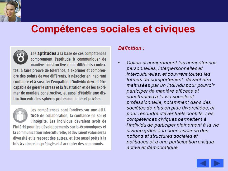 Compétences sociales et civiques Définition : Celles-ci comprennent les compétences personnelles, interpersonnelles et interculturelles, et couvrent t