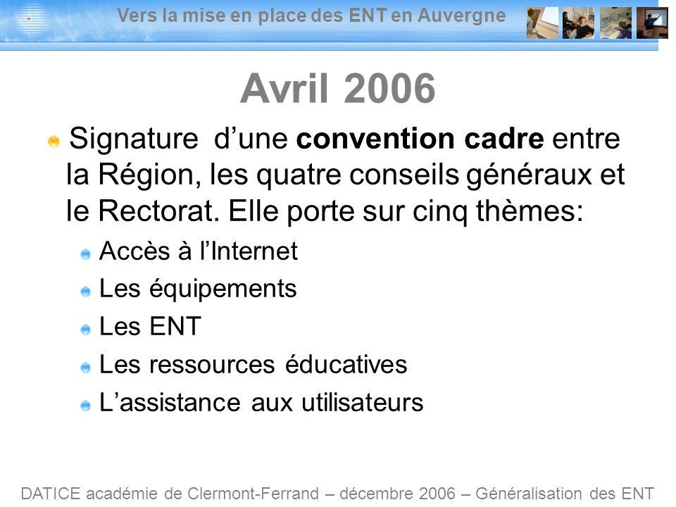 Vers la mise en place des ENT en Auvergne DATICE académie de Clermont-Ferrand – décembre 2006 – Généralisation des ENT Avril 2006 Signature dune convention cadre entre la Région, les quatre conseils généraux et le Rectorat.