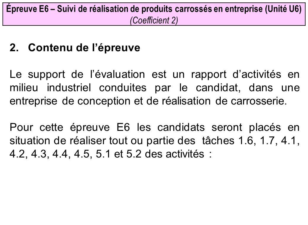 Épreuve E6 – Suivi de réalisation de produits carrossés en entreprise (Unité U6) (Coefficient 2) 2. Contenu de lépreuve Le support de lévaluation est