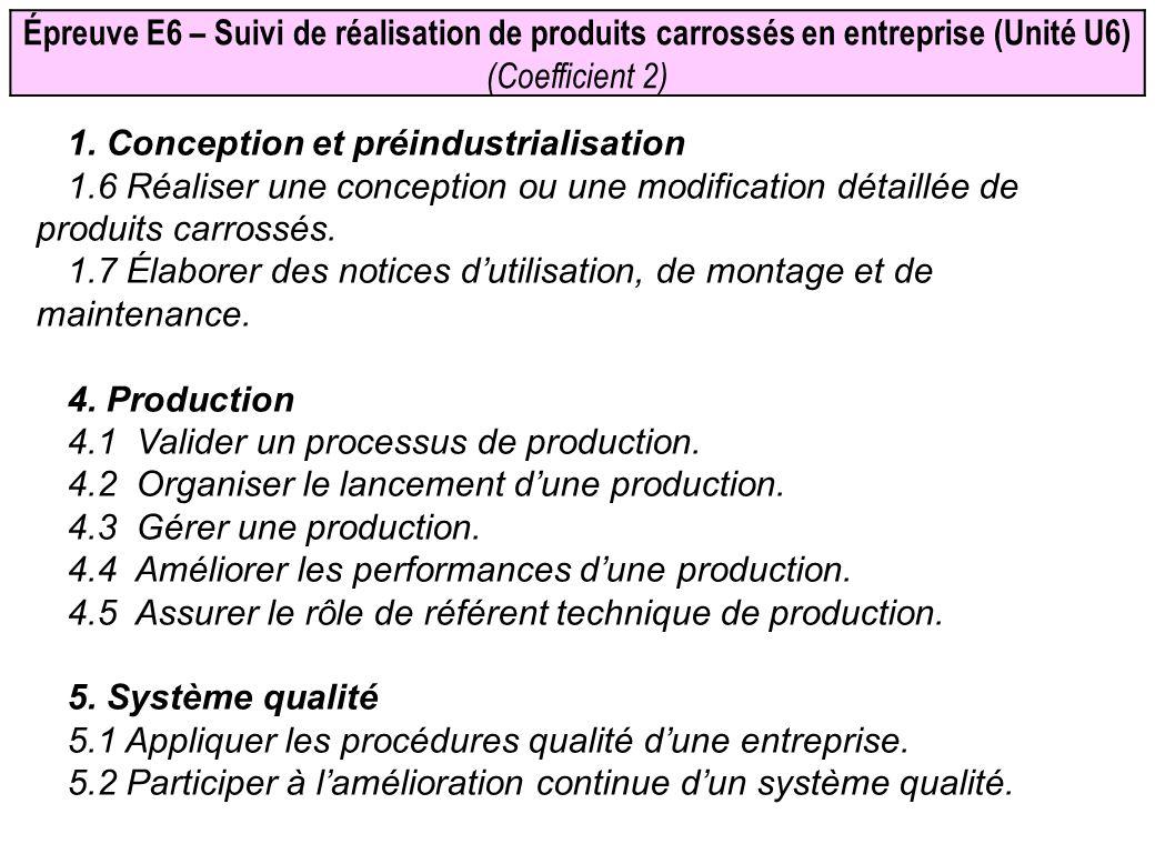 Épreuve E6 – Suivi de réalisation de produits carrossés en entreprise (Unité U6) (Coefficient 2) 1. Conception et préindustrialisation 1.6 Réaliser un