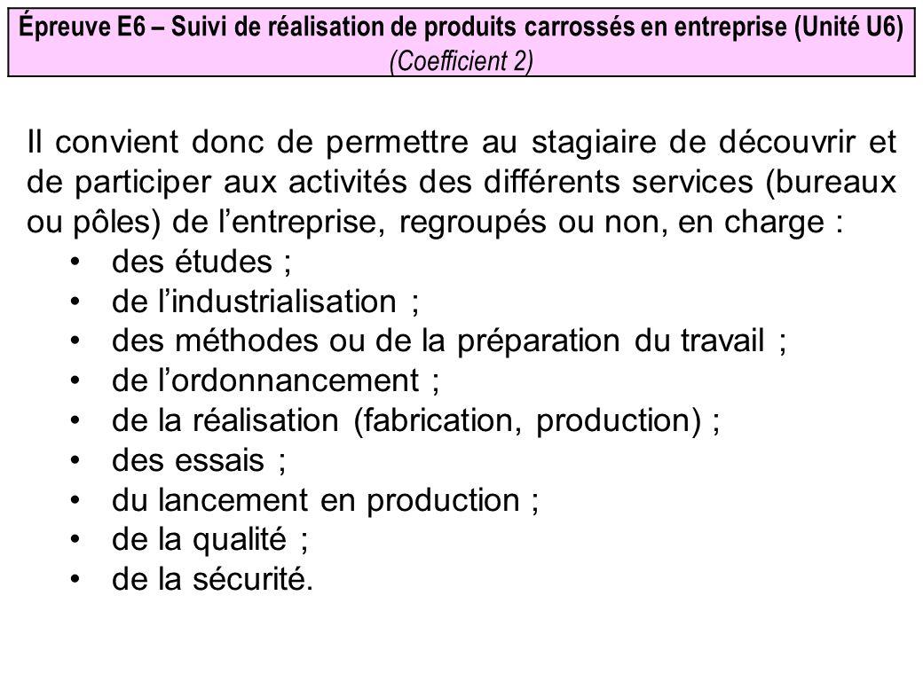 Épreuve E6 – Suivi de réalisation de produits carrossés en entreprise (Unité U6) (Coefficient 2) Il convient donc de permettre au stagiaire de découvr