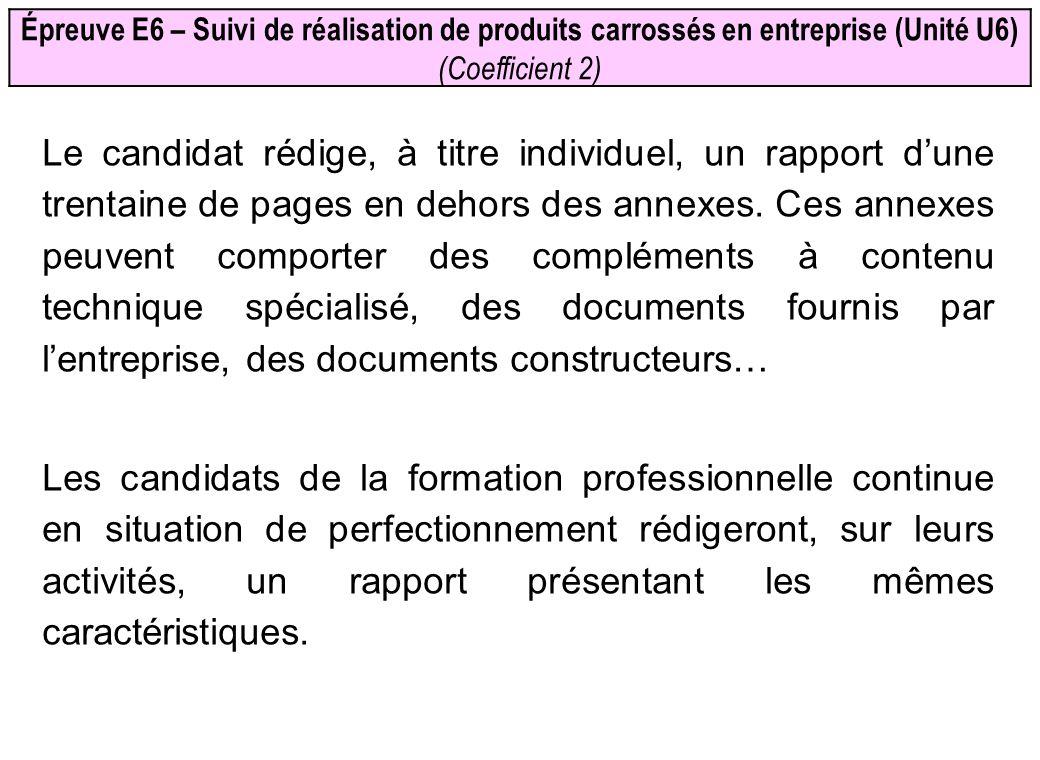 Épreuve E6 – Suivi de réalisation de produits carrossés en entreprise (Unité U6) (Coefficient 2) Le candidat rédige, à titre individuel, un rapport du