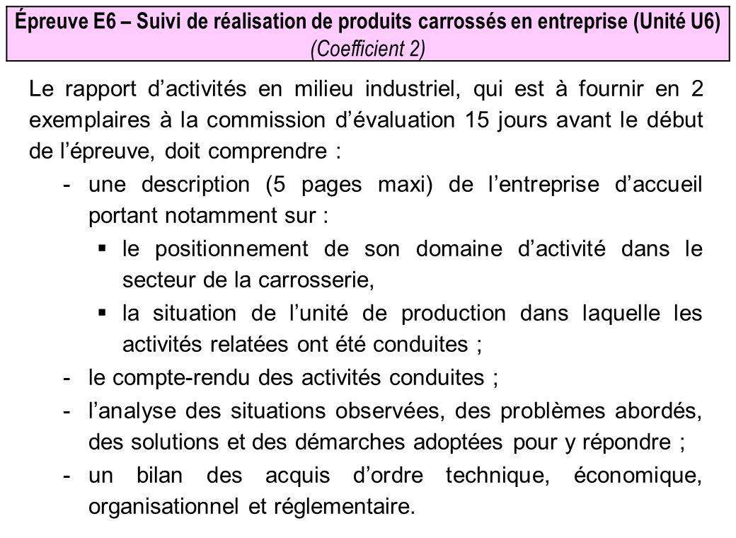 Épreuve E6 – Suivi de réalisation de produits carrossés en entreprise (Unité U6) (Coefficient 2) Le rapport dactivités en milieu industriel, qui est à