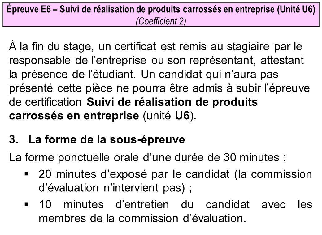 Épreuve E6 – Suivi de réalisation de produits carrossés en entreprise (Unité U6) (Coefficient 2) À la fin du stage, un certificat est remis au stagiai
