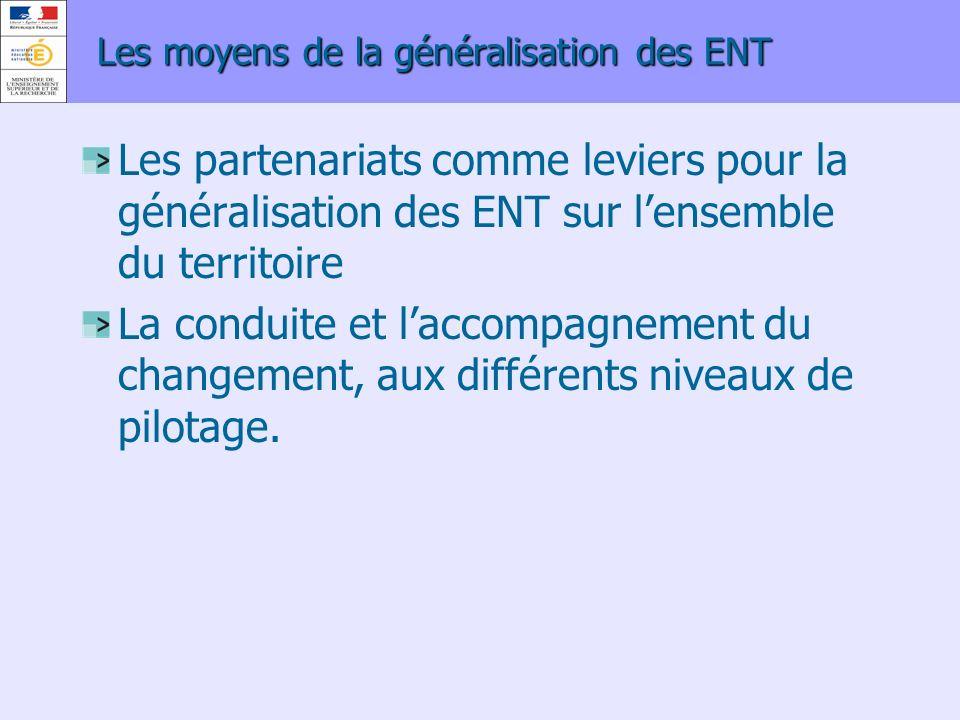 Les moyens de la généralisation des ENT Les partenariats comme leviers pour la généralisation des ENT sur lensemble du territoire La conduite et lacco