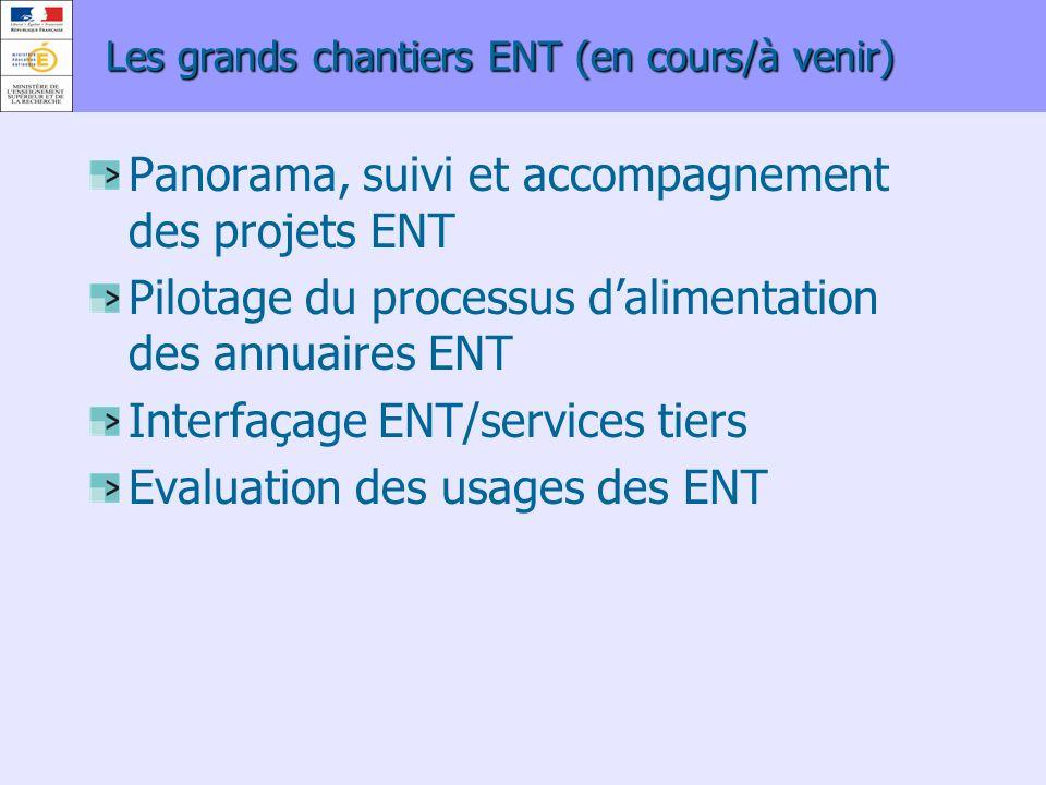 Les grands chantiers ENT (en cours/à venir) Panorama, suivi et accompagnement des projets ENT Pilotage du processus dalimentation des annuaires ENT In