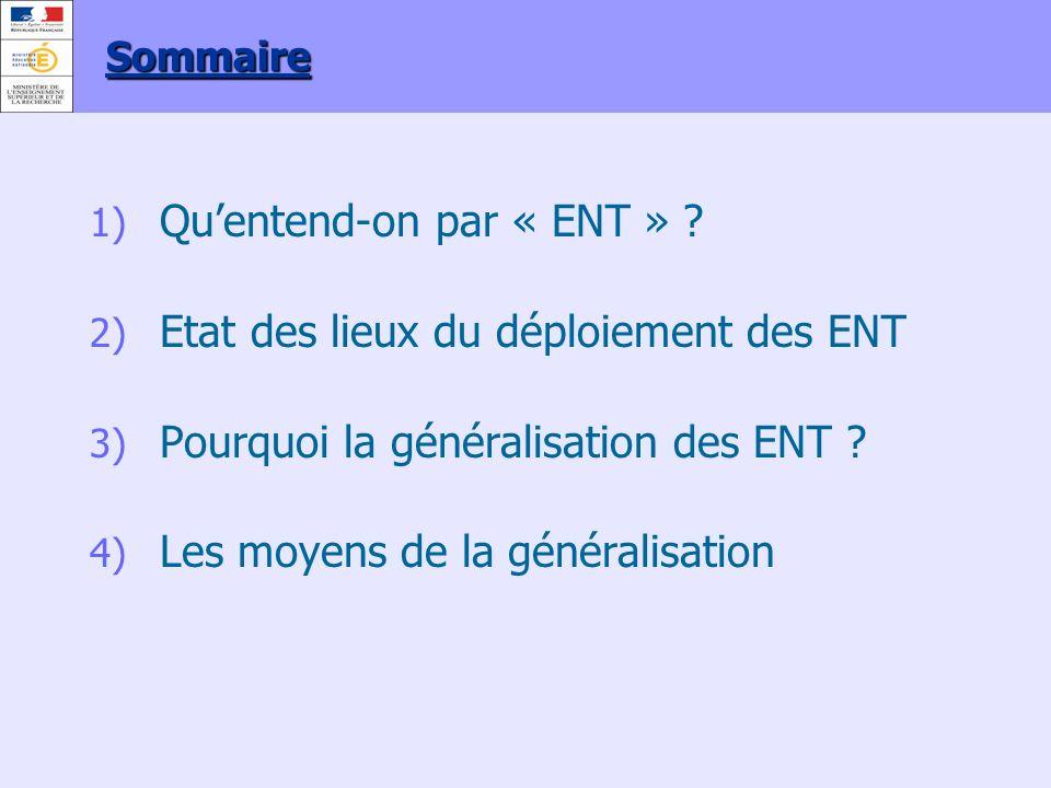 1) Quentend-on par « ENT » ? 2) Etat des lieux du déploiement des ENT 3) Pourquoi la généralisation des ENT ? 4) Les moyens de la généralisation Somma