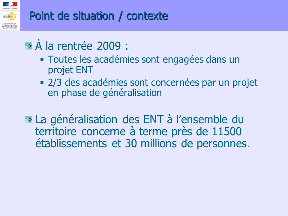Point de situation / contexte À la rentrée 2009 : Toutes les académies sont engagées dans un projet ENT 2/3 des académies sont concernées par un proje