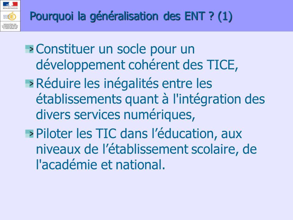 Pourquoi la généralisation des ENT ? (1) Constituer un socle pour un développement cohérent des TICE, Réduire les inégalités entre les établissements