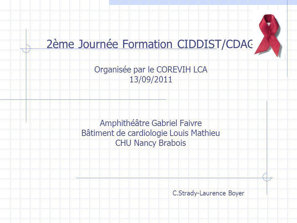 2ème Journée Formation CIDDIST/CDAG Organisée par le COREVIH LCA 13/09/2011 Amphithéâtre Gabriel Faivre Bâtiment de cardiologie Louis Mathieu CHU Nanc