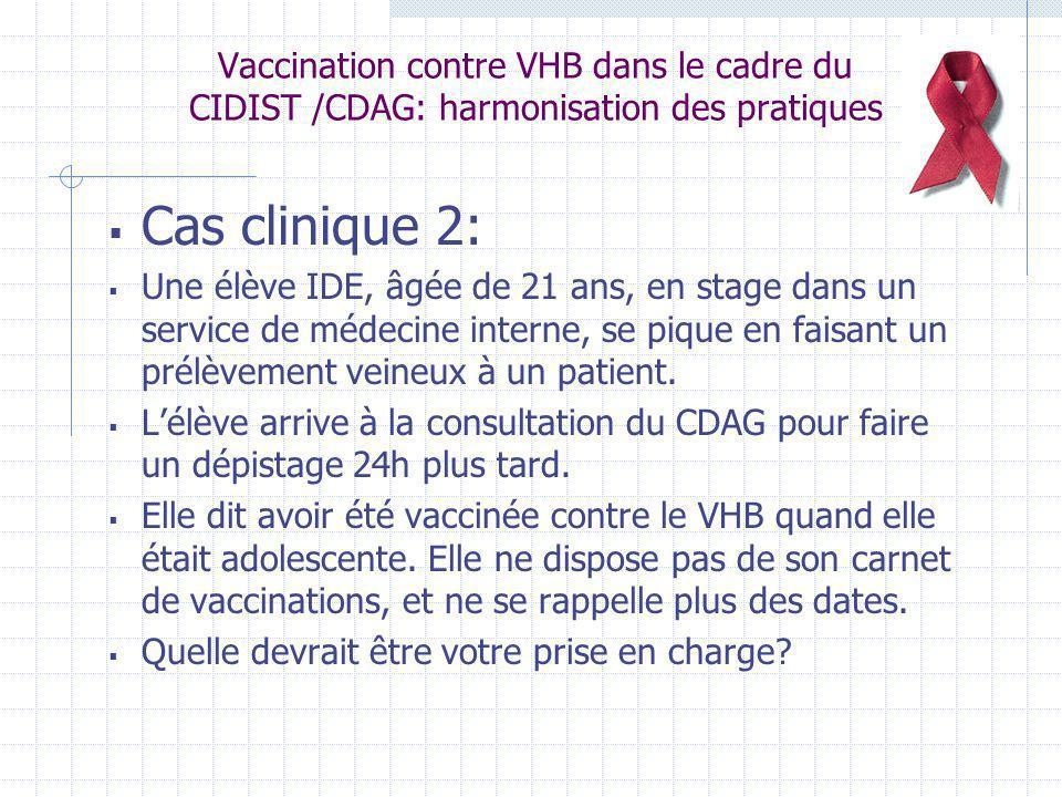 Vaccination contre VHB dans le cadre du CIDIST /CDAG: harmonisation des pratiques Cas clinique 2: Une élève IDE, âgée de 21 ans, en stage dans un serv