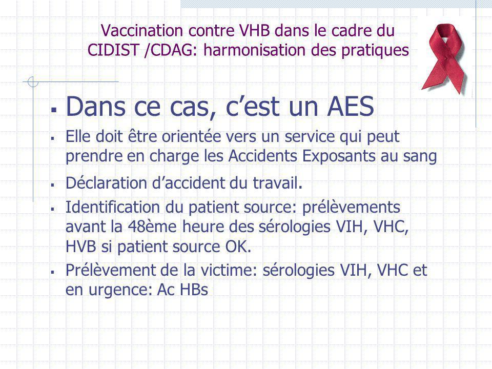 Vaccination contre VHB dans le cadre du CIDIST /CDAG: harmonisation des pratiques Dans ce cas, cest un AES Elle doit être orientée vers un service qui