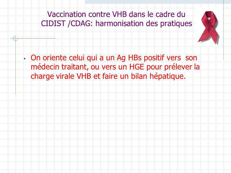Vaccination contre VHB dans le cadre du CIDIST /CDAG: harmonisation des pratiques On oriente celui qui a un Ag HBs positif vers son médecin traitant,