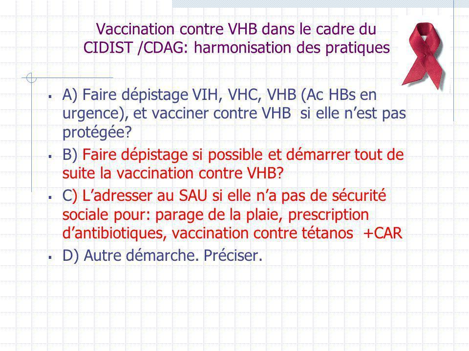 Vaccination contre VHB dans le cadre du CIDIST /CDAG: harmonisation des pratiques A) Faire dépistage VIH, VHC, VHB (Ac HBs en urgence), et vacciner co
