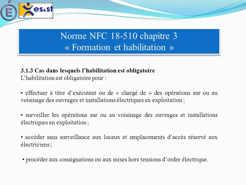 Norme NFC 18-510 chapitre 3 « Formation et habilitation » 3.1.3 Cas dans lesquels lhabilitation est obligatoire Lhabilitation est obligatoire pour : e
