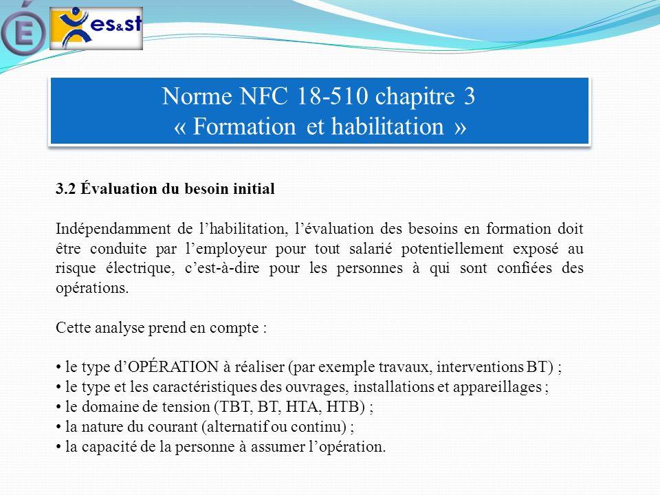 Norme NFC 18-510 chapitre 3 « Formation et habilitation » 3.2 Évaluation du besoin initial Indépendamment de lhabilitation, lévaluation des besoins en