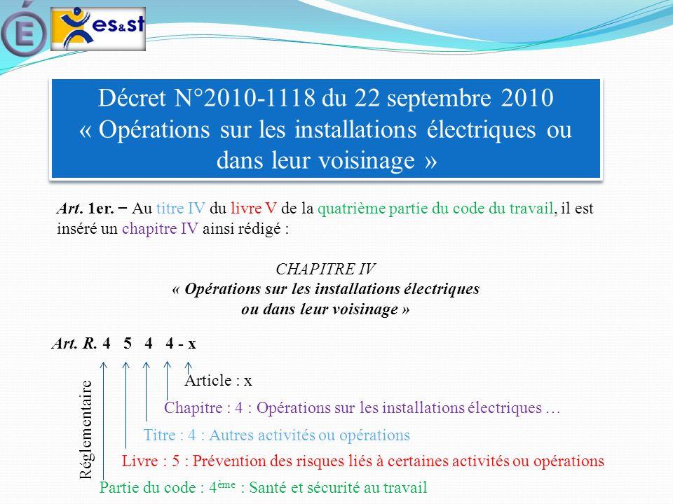 Décret N°2010-1118 du 22 septembre 2010 « Opérations sur les installations électriques ou dans leur voisinage » Art. 1er. Au titre IV du livre V de la