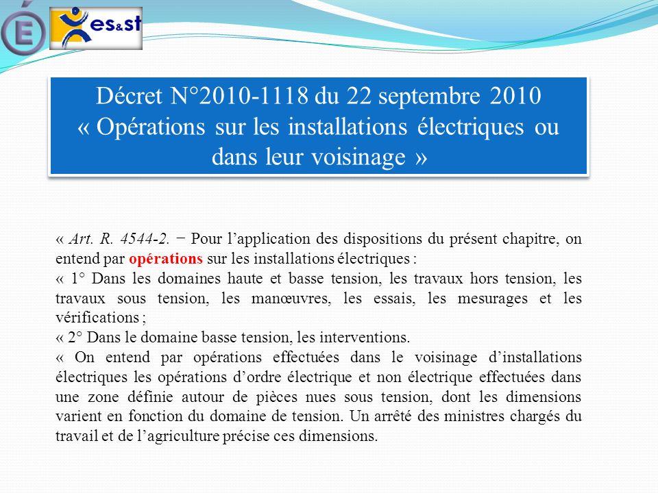 Décret N°2010-1118 du 22 septembre 2010 « Opérations sur les installations électriques ou dans leur voisinage » « Art. R. 4544-2. Pour lapplication de