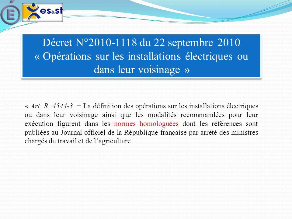 Décret N°2010-1118 du 22 septembre 2010 « Opérations sur les installations électriques ou dans leur voisinage » « Art. R. 4544-3. La définition des op