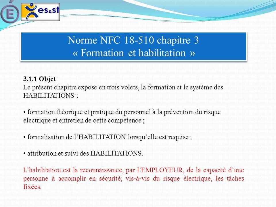 Norme NFC 18-510 chapitre 3 « Formation et habilitation » 3.1.1 Objet Le présent chapitre expose en trois volets, la formation et le système des HABIL