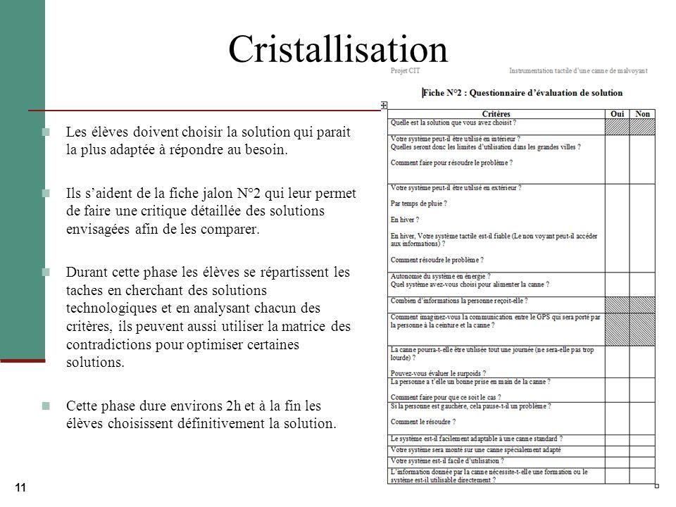 11 Cristallisation Les élèves doivent choisir la solution qui parait la plus adaptée à répondre au besoin.