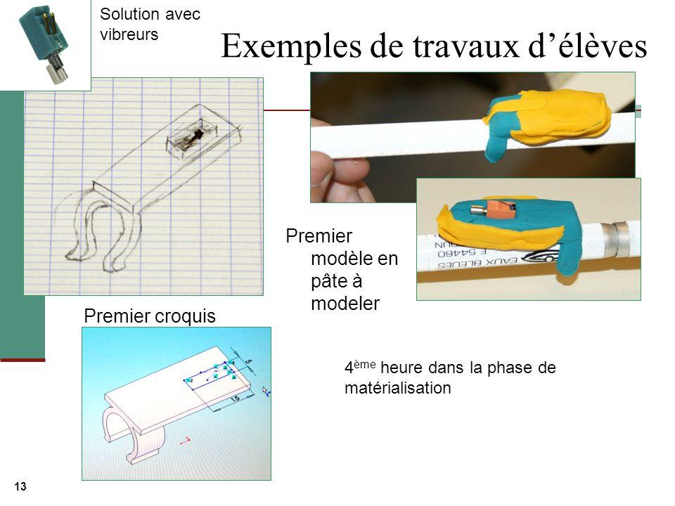 13 Exemples de travaux délèves Premier croquis Premier modèle en pâte à modeler 4 ème heure dans la phase de matérialisation Solution avec vibreurs