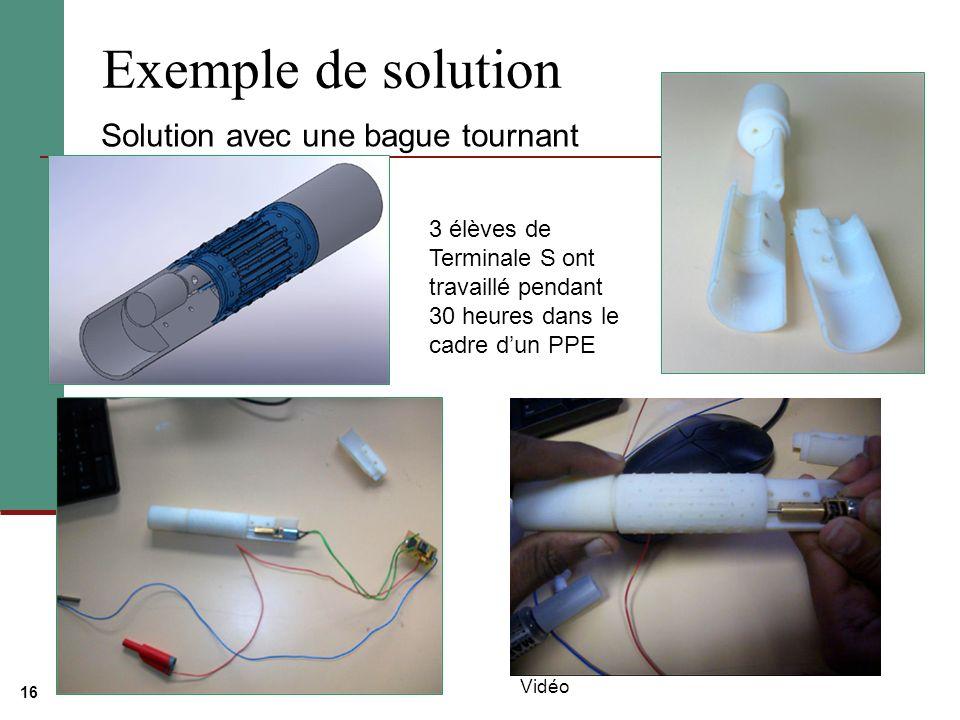 16 Exemple de solution Solution avec une bague tournant Vidéo 3 élèves de Terminale S ont travaillé pendant 30 heures dans le cadre dun PPE