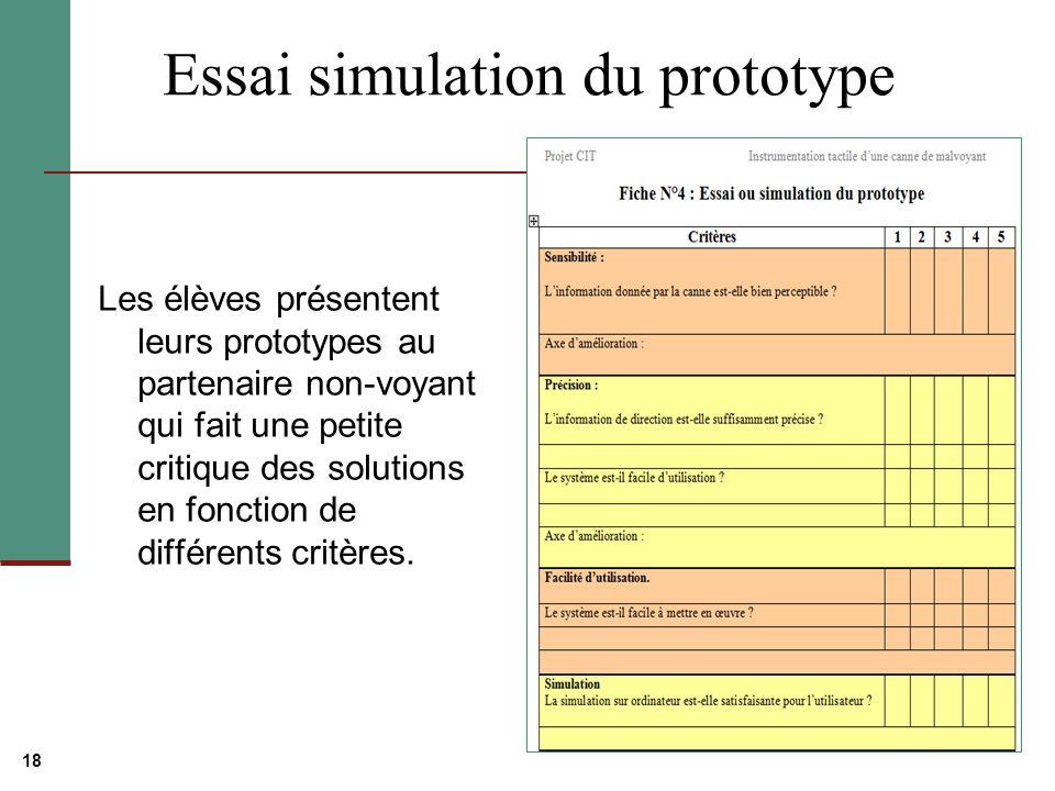 18 Essai simulation du prototype Les élèves présentent leurs prototypes au partenaire non-voyant qui fait une petite critique des solutions en fonction de différents critères.