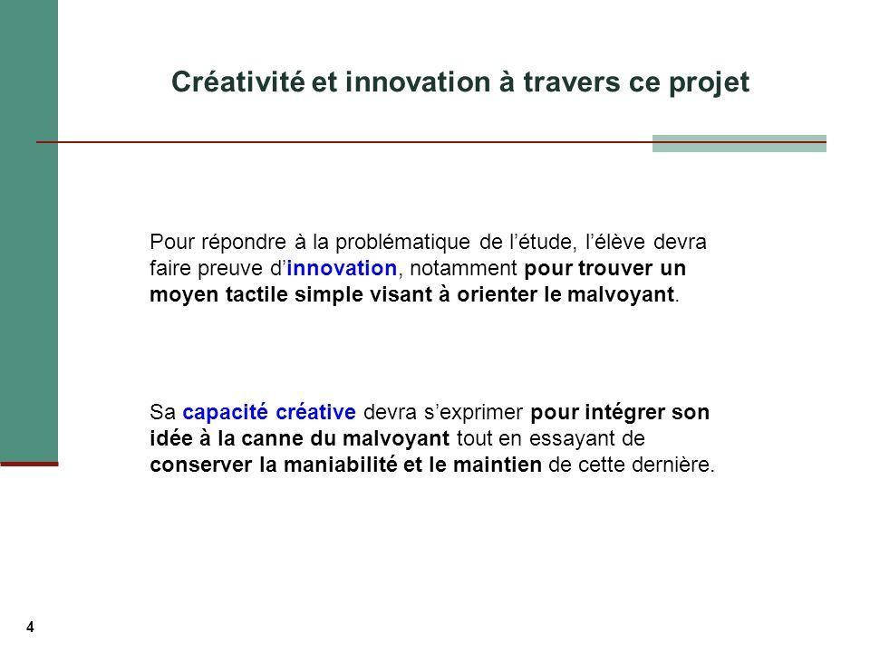 4 Créativité et innovation à travers ce projet Pour répondre à la problématique de létude, lélève devra faire preuve dinnovation, notamment pour trouver un moyen tactile simple visant à orienter le malvoyant.