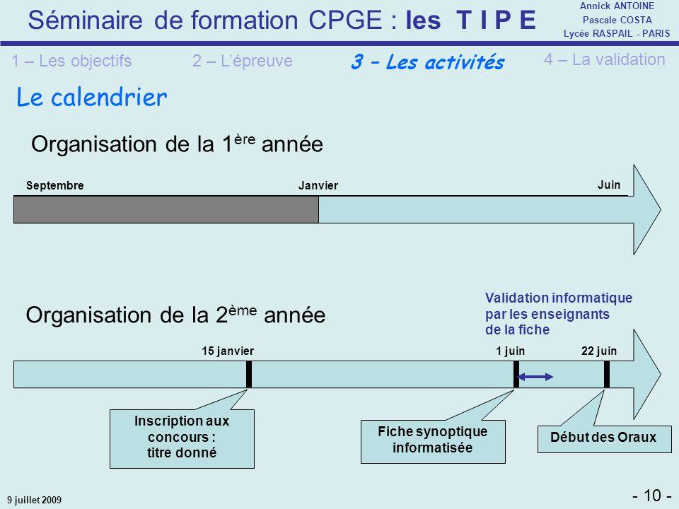 Séminaire de formation CPGE : les T I P E - 10 - Annick ANTOINE Pascale COSTA Lycée RASPAIL - PARIS 9 juillet 2009 Le calendrier Organisation de la 2