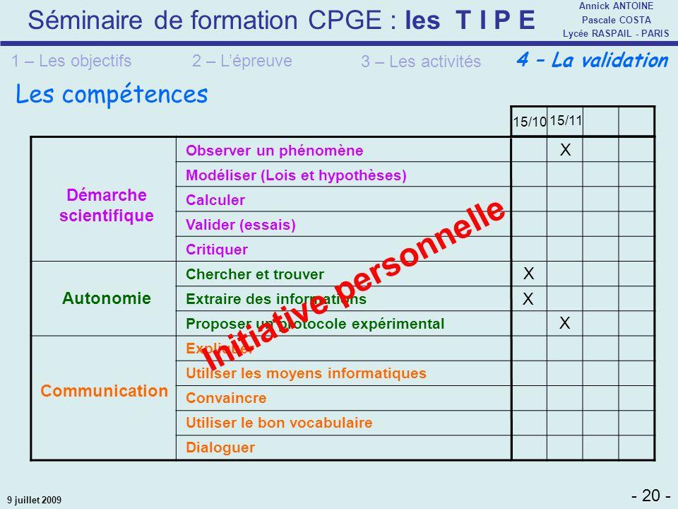 Séminaire de formation CPGE : les T I P E - 20 - Annick ANTOINE Pascale COSTA Lycée RASPAIL - PARIS 9 juillet 2009 Les compétences 2 – Lépreuve 3 – Le