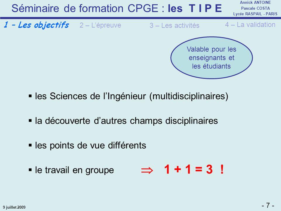 Séminaire de formation CPGE : les T I P E - 7 - Annick ANTOINE Pascale COSTA Lycée RASPAIL - PARIS 9 juillet 2009 les Sciences de lIngénieur (multidis