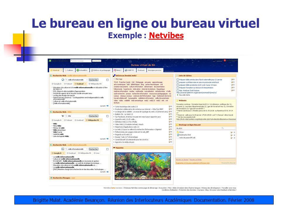 Le bureau en ligne ou bureau virtuel Exemple : NetvibesNetvibes Brigitte Mulat. Académie Besançon. Réunion des Interlocuteurs Académiques Documentatio