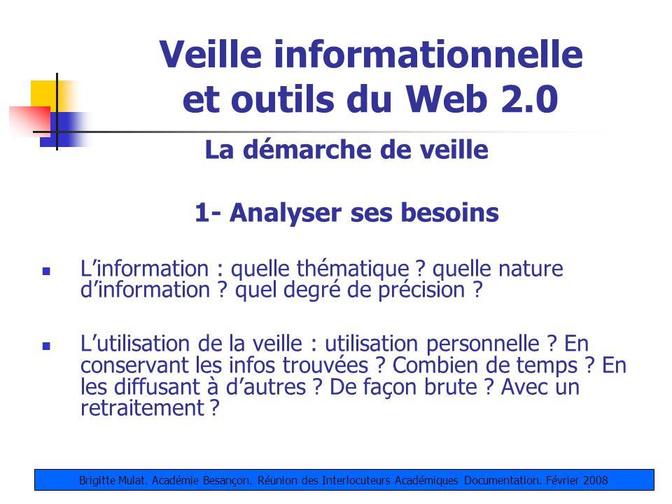 Veille informationnelle et outils du Web 2.0 La démarche de veille 1- Analyser ses besoins Linformation : quelle thématique ? quelle nature dinformati