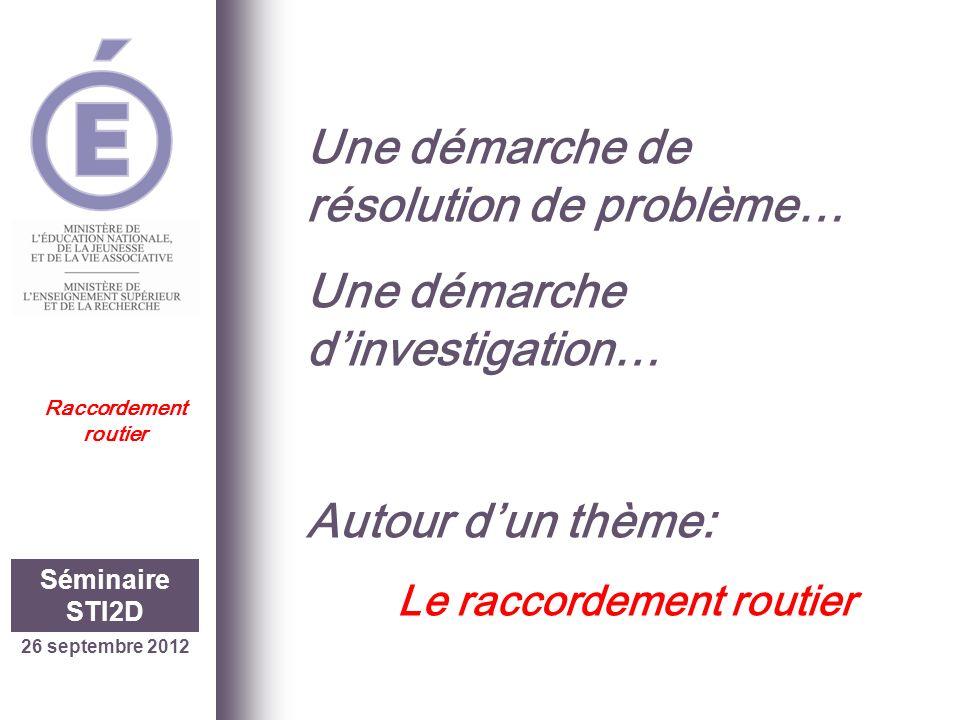 Une démarche de résolution de problème… Une démarche dinvestigation… Autour dun thème: Le raccordement routier 26 septembre 2012 Séminaire STI2D Racco