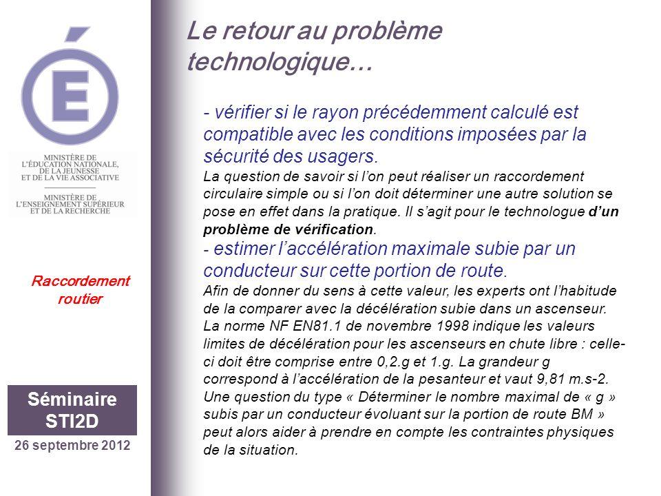26 septembre 2012 Séminaire STI2D Raccordement routier Le retour au problème technologique… - vérifier si le rayon précédemment calculé est compatible